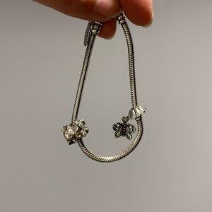 Pandora Bracelet, Elephant & Butterfly Charms